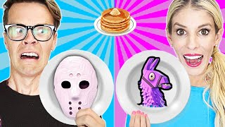 Game Master Pancake Art Challenge Battle Royale to Stop GMI (Roblox and Fortnite) Matt and Rebecca Video