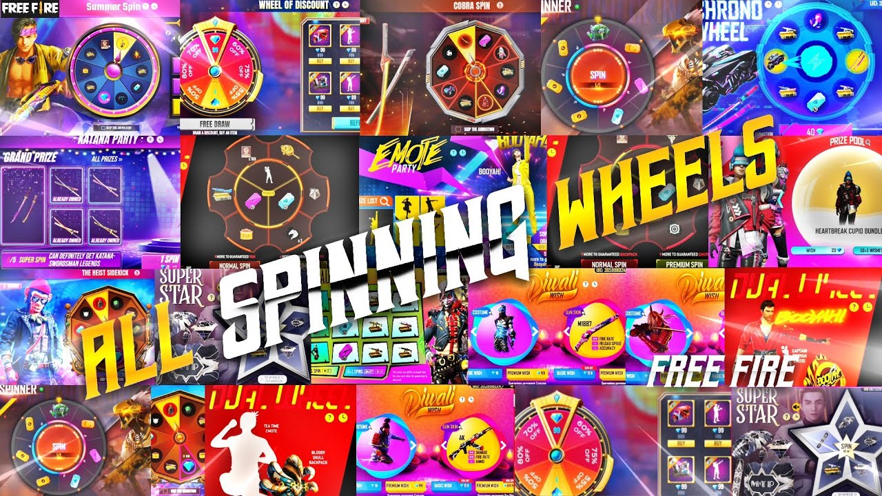 ALL WHEELS FREE FIRE || ALL SPINNING WHEELS || ALL SPECIAL SPINS || FREE FIRE ALL SPINS WHEELS | TSK