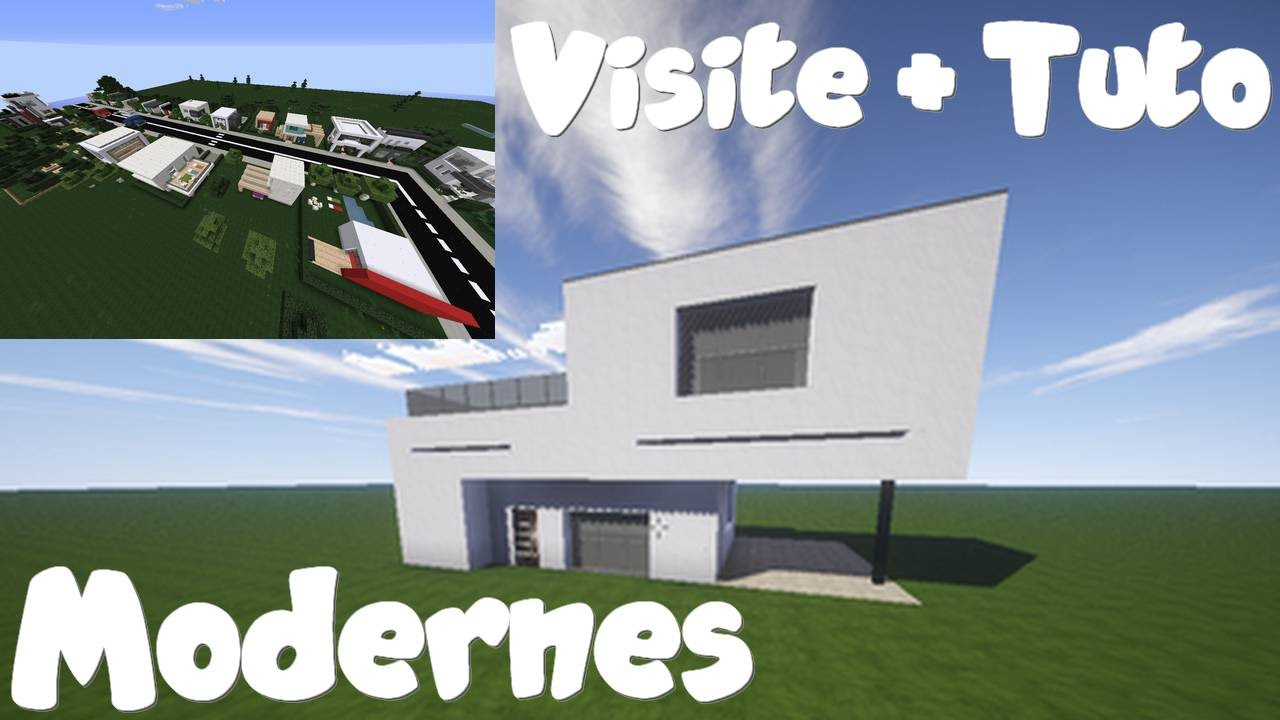 Minecraft visite ville moderne tuto maison moderne for Tuto maison moderne