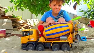 Funny stories about Tractor Excavator and Truck - compilation Alex ride on Power Wheels