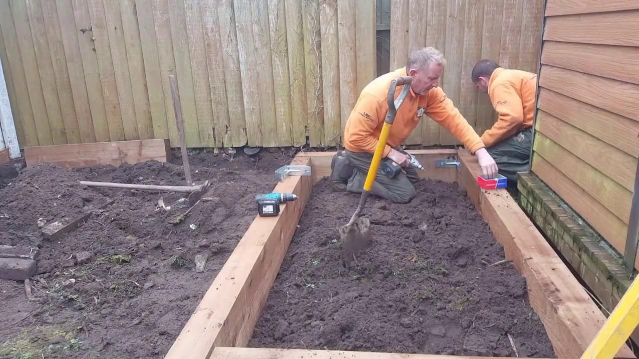 How to build raised beds using railway sleepers.
