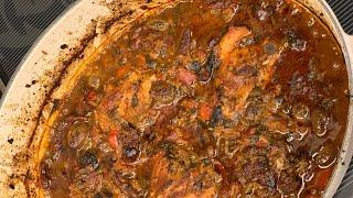 Курица тушеная с вялеными томатами, рисом и оливками. Chicken with rice sundried tomatoes and olives