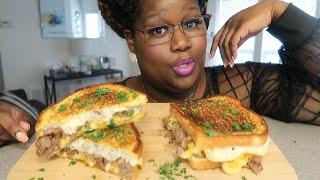 GRILLED MAC AND CHEESESTEAK SANDWICH 먹방 MUKBANG + RECIPE
