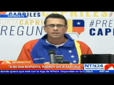 """Capriles pide """"tomar Venezuela"""" si CNE no da fecha para recolección del 20% de apoyo al revocatorio"""
