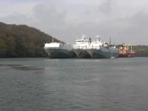Laid up Shipping in the River Fal Cornwall