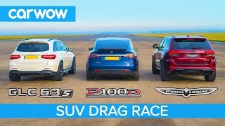 jeep Trackhawk vs Tesla Model X vs AMG GLC 63 - DRAG RACE, ROLLING RACE & BRAKE TEST