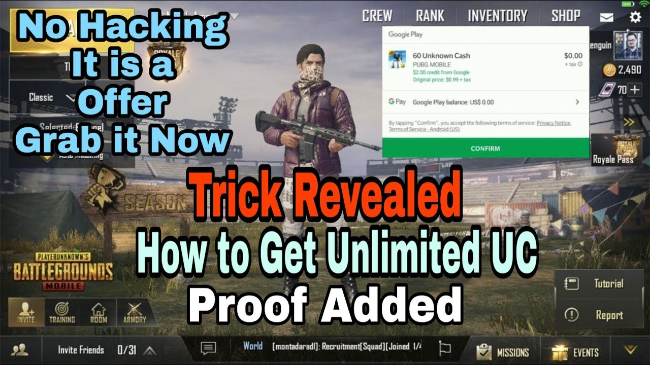 How to get unlimited UC on pubg Mobile for Free, No hacking it is a offer from google