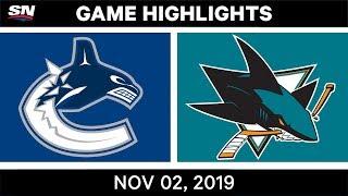NHL Highlights   Canucks vs Sharks – Nov. 2, 2019