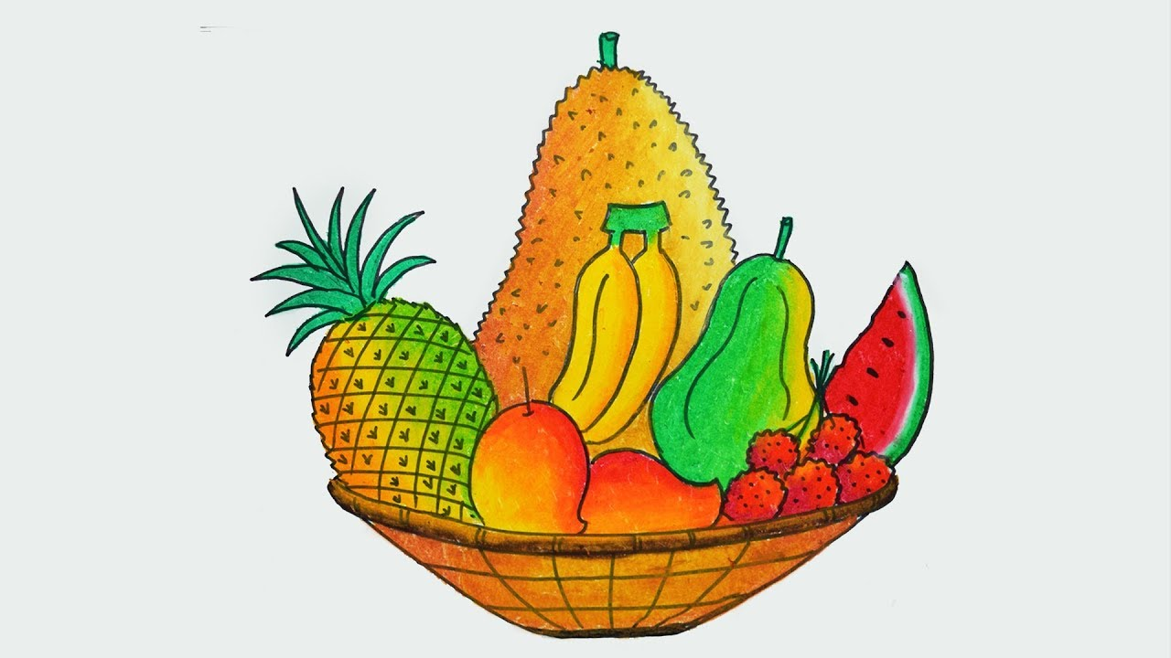 how to draw fruit basket easy and simple step by step