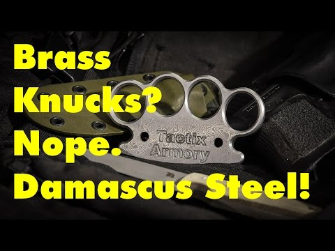Making Damascus Steel Knuckle Dusters - The World's Fanciest Brass Knucks?