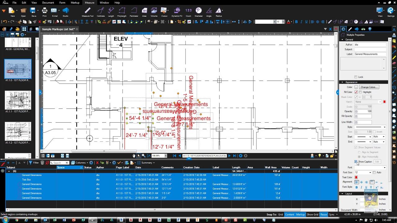 Bluebeam Revu Polylength Command Export to Excel