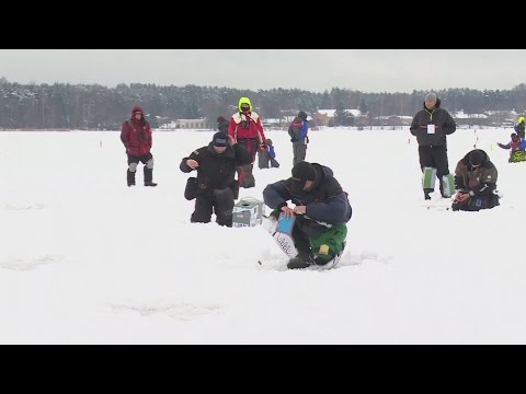 A weird sport....World Ice Fishing Championship takes place in Latvia