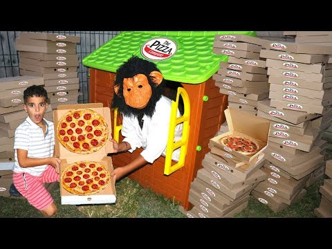 Adel and Sami pretend play house, bought a lot Pizza, funny video for kids