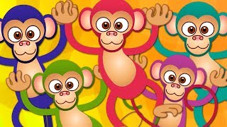 Five Little Monkeys | Kindergarten Nursery Rhymes For Babies