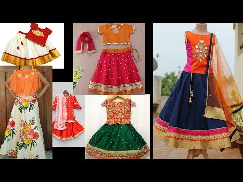 orange combination kids lehenga choli designs || lehenga for small girls