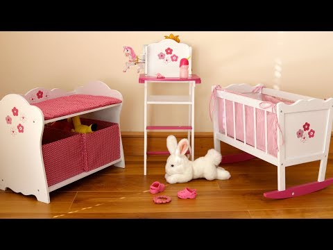 Baby Dolls Bedroom Rocking Cot Bed Highchair Changing Table – Baby Annabell Evening Routine