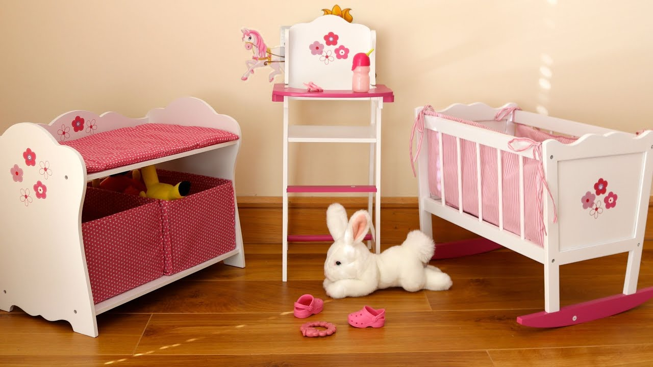 Baby Dolls Bedroom Rocking Cot Bed Highchair Changing Table   Baby Annabell  Evening Routine