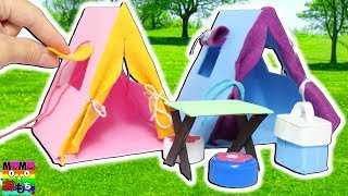 パパにプレゼント♡キャンプのテントを手作りDIY♪机に椅子、クーラーボックスも作るよ♫miniature tent おもちゃ おもちゅーぶ thumbnail