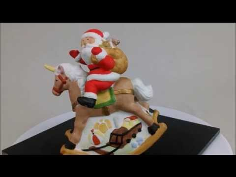 San Fransisco Co Santa on Rocking Horse Music Box Figurines