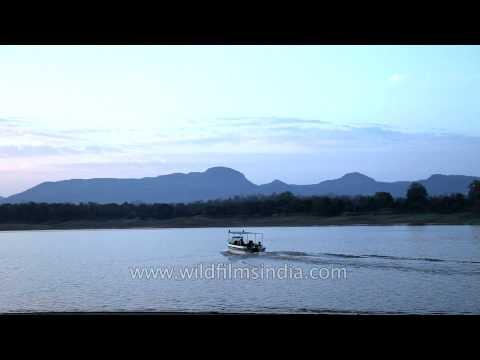 Motorboat sailing on Denwa River in Satpura