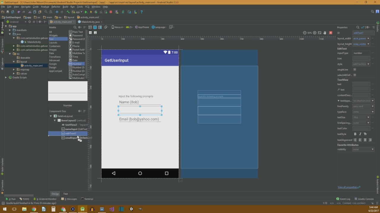 How to get user input in Android Studio