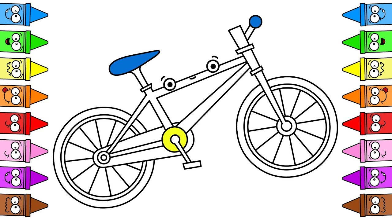 Drawing Bicycle  Bike Coloring Page  Bicycle Color  Bicycle Drawing Step  by Step