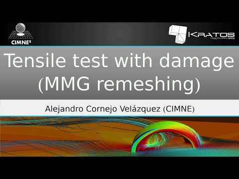 Tensile test with damage (MMG remeshing)
