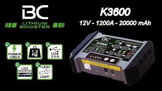 BC LITHIUM BOOSTER K3600 - Avviatore auto/moto + batteria portatile per ricarica smartphone e tablet