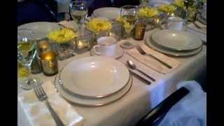 Yellow Place Setting Sample, Mansion on the Lake Cleveland Ohio Beach Mansion Weddings