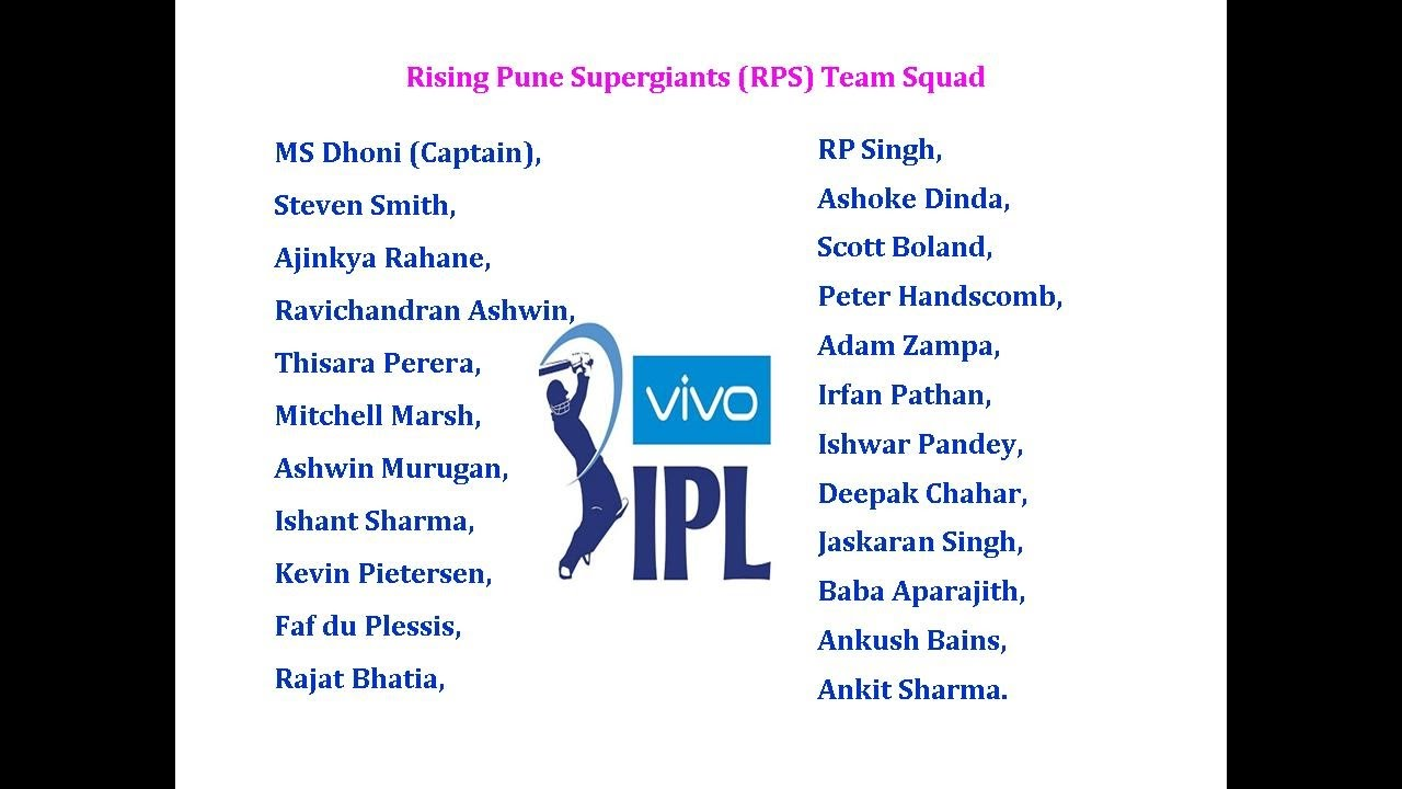 ipl 10 2017 all teams player list indian premier league youtube
