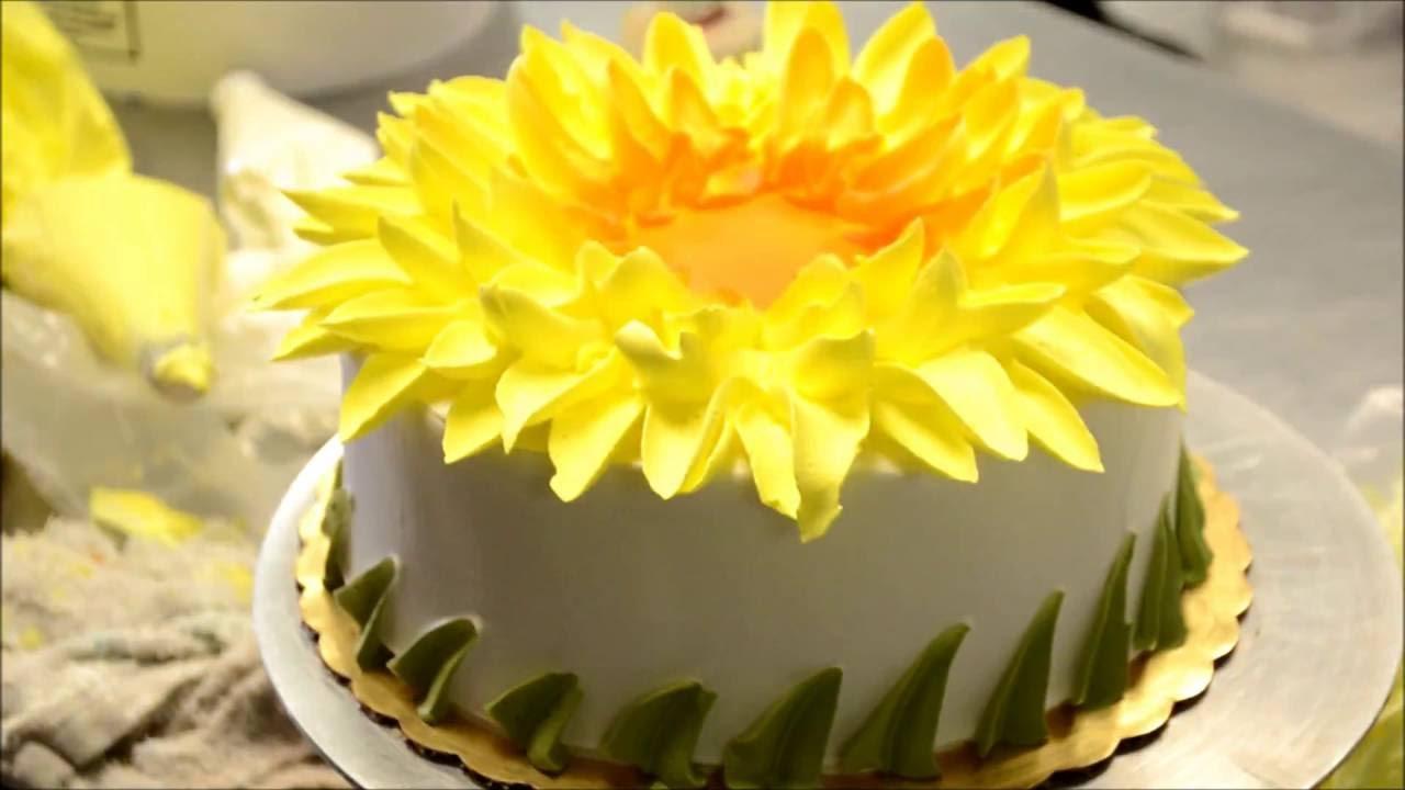 How to make a yellow sunflower design cake bakery secret youtube mightylinksfo