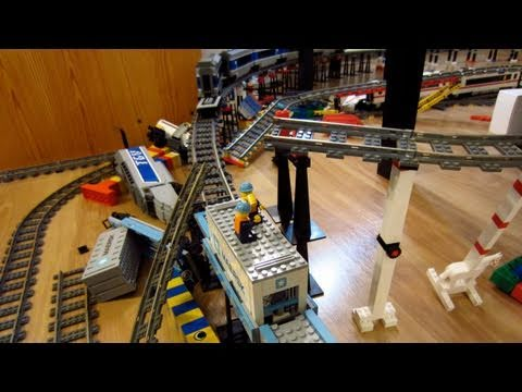 LEGO Thomas the Tank Engine train crash on three level layout