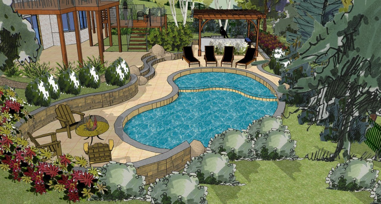 Sketchup 3D Landscape Design - YouTube on Sketchup Backyard id=84245