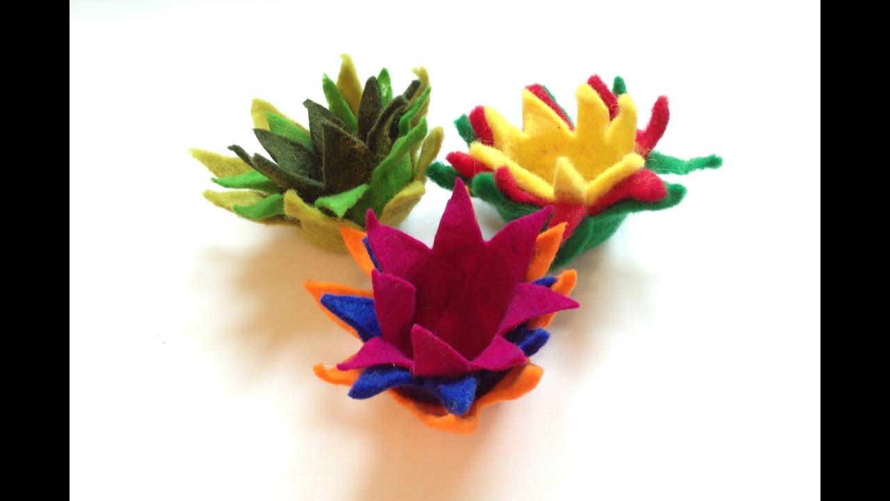 filzen von lotus filzblumen filzbl ten felt flowers mit anleitung von 3. Black Bedroom Furniture Sets. Home Design Ideas