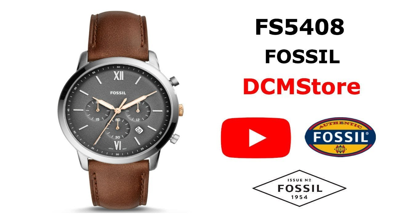 28407348771 FS5408 Fossil Neutra Chronograph Brown Leather ...... DCMStore - YouTube