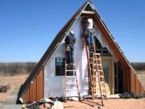 A frame cabin house youtube for Steel frame cabin