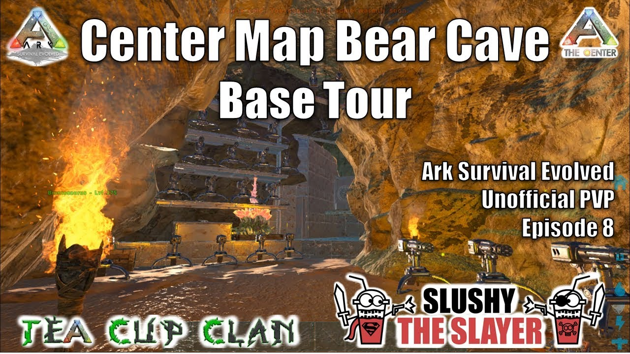 Ark Unofficial Pvp Episode 8 Center Map Bear Cave Base Tour Youtube