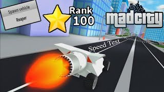 Roblox Mad City | Rank 100 Reaper Vehicle Speed + Nitro Test (NO Upgrades) 🔥