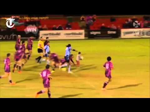 Four-year-old scores try at rugby game
