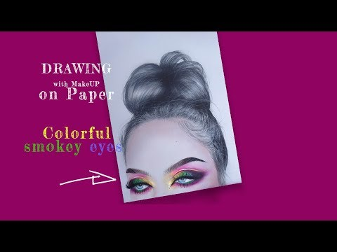 Drawing with make up on paper   Part 2   Colorful smokey eyes