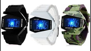 Pappi Haunt Black, White & Military Triangle Aircraft Digital 7 Light Led Watch