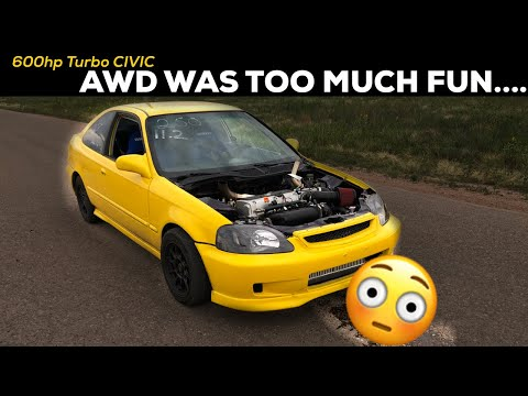 Pt.15| LAMBO KILLER BUILD | 600HP AWD TURBO HONDA CIVIC | HOOKING UP AWD!