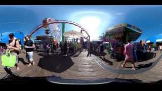 360 degree video! Santa Monica Pier, Pacific Park, Los Angeles California