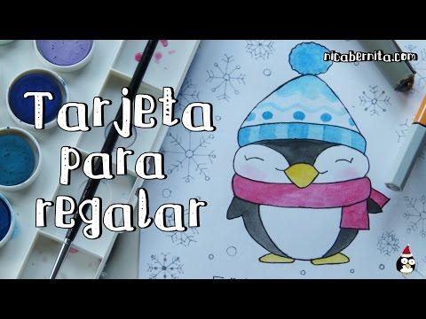 Dibujos Para Tarjetas De Navidad Para Ninos.Como Dibujar Un Pinguino Kawaii Dibujo Original Para