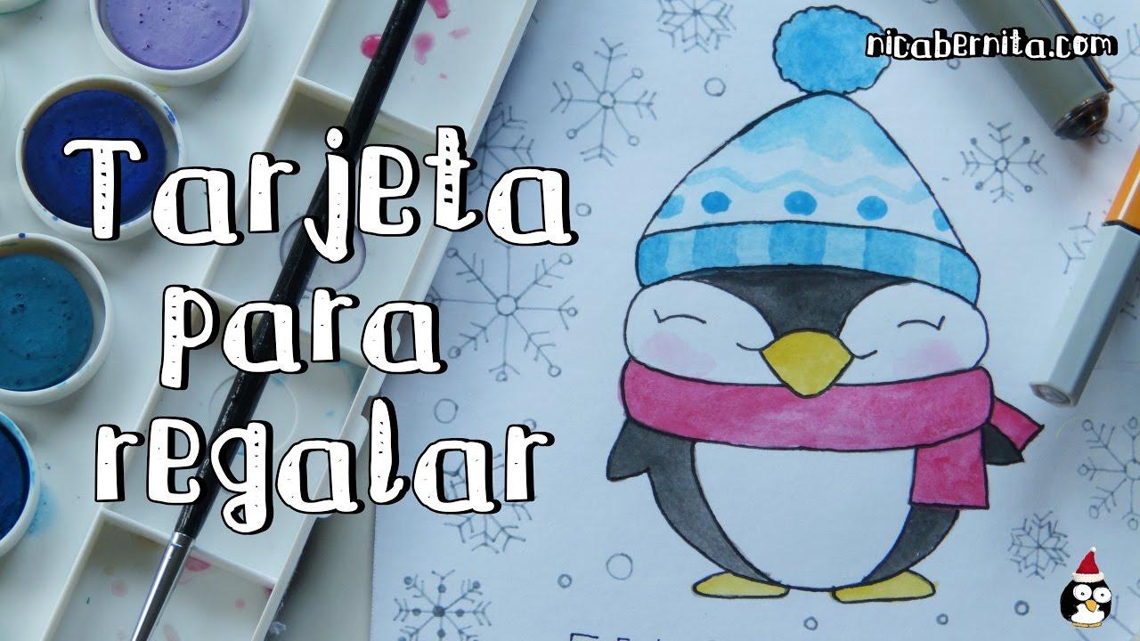 Cómo Dibujar Un Pingüino Kawaii Dibujo Original Para Tarjetas De