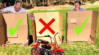 DONT Run Over The Wrong Mystery Box! *toy dirt bike*