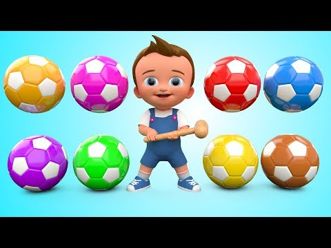 Soccer Balls Mini Golf Game Play by Little Baby Wooden Hammer to Learn Colors for Children - 3D Kids
