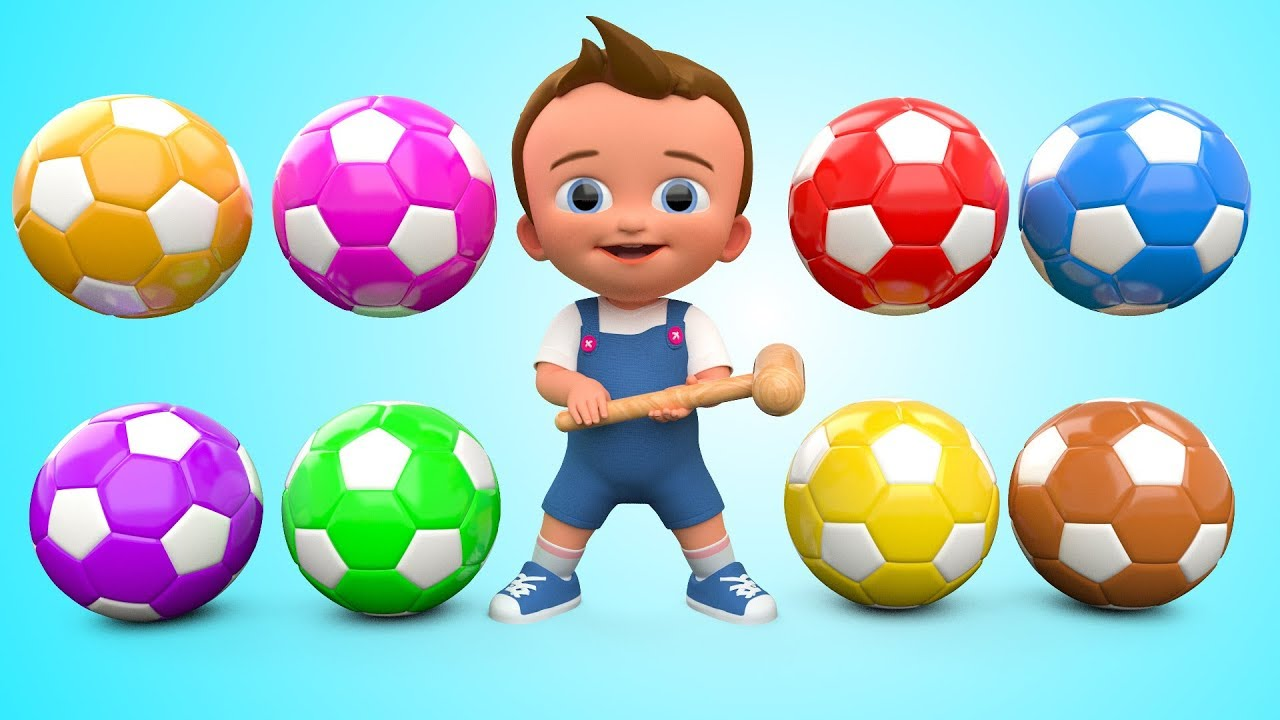 Soccer Balls Mini Golf Game Play by Little Baby Wooden Hammer to Learn Colors for Children – 3D Kids