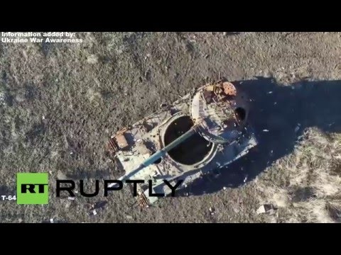 Debaltseve 1 year later Drone footage, leftover Ukrainian Tanks, Destroyed Village - Год Дебальцево