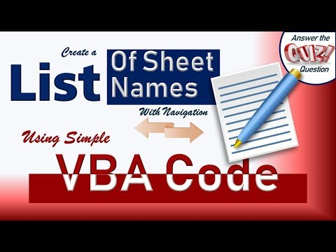 Simple VBA Code to create a List of All Sheet Names - With 2 ways Navigation